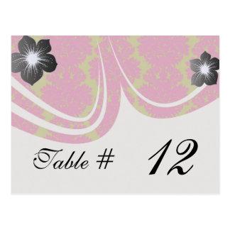 fuschia and olive fleur damask pattern design postcard