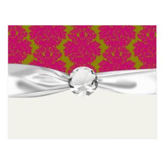 fuschia and olive fleur damask pattern postcard