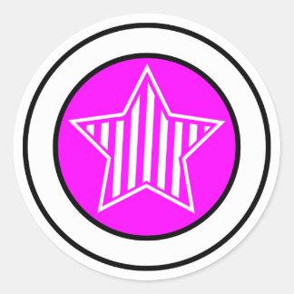 Fuschia and White Star Sticker