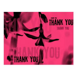 Fuschia Black Pink Thank You Postcard