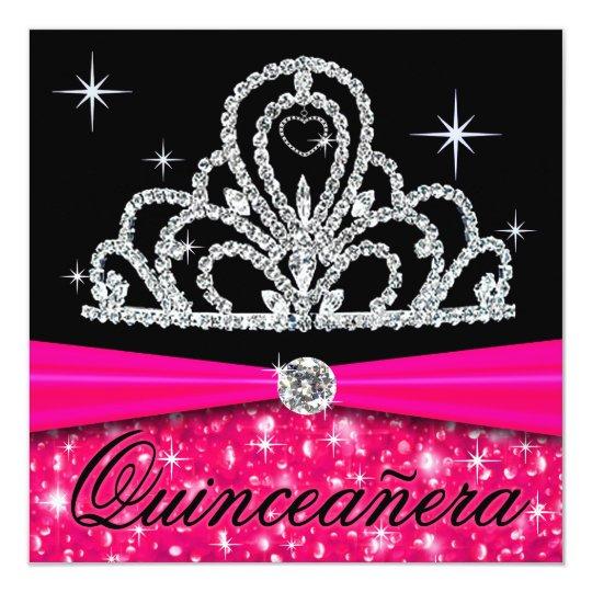 Fuschia Black Quinceanera Princess Tiara Bling Card
