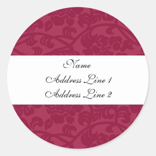 Fuschia Damask Address Labels Stickers