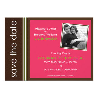 Fuschia Modern Speckled Texture Save the Date Personalized Announcements