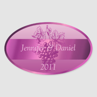 Fuschia Personalized Custom Wine Labels Oval Sticker