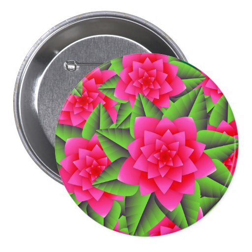 Fuschia Pink Camellias and Green Leaves Pinback Buttons