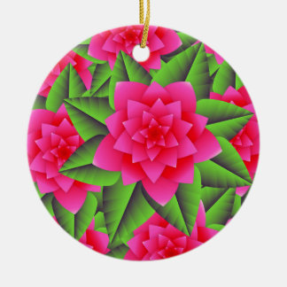 Fuschia Pink Camellias and Green Leaves Ornaments