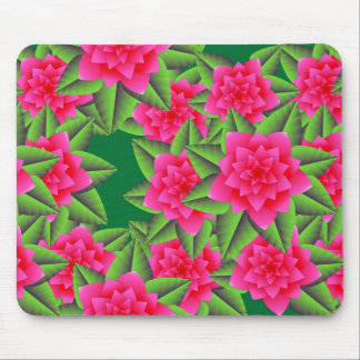 Fuschia Pink Camellias and Green Leaves Mousepads