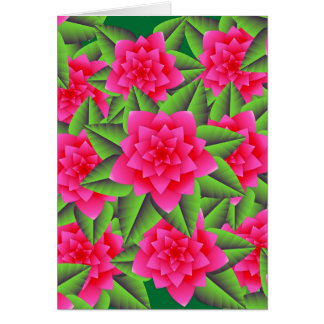 Fuschia Pink Camellias and Green Leaves Note Card