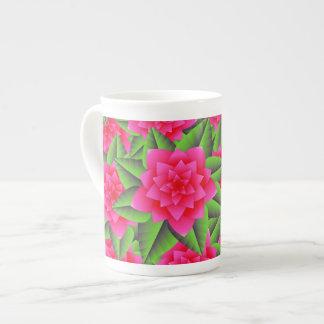 Fuschia Pink Camellias and Green Leaves Porcelain Mug
