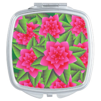 Fuschia Pink Camellias and Green Leaves Travel Mirrors