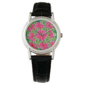 Fuschia Pink Camellias and Green Leaves Wrist Watches