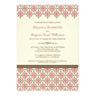 Fuschia Queen Anne's Lace Wedding Invitation