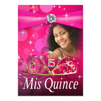 Fuschia Quinceanera 15 Princess Tiara  Photo Personalized Announcements