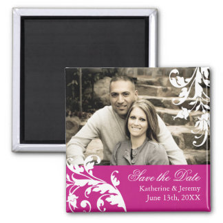 Fuschia Save the Date Wedding Magnet