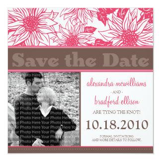 "Fuschia Sunflowers Save the Date Announcement 5.25"" Square Invitation Card"