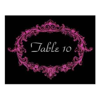 Fuschia Vintage Frame Table Number Part Set of 12 Postcard