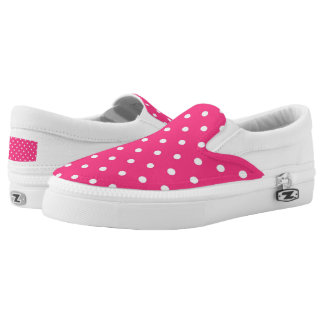 Fuschia White Polka Dots Zipz Slip On Shoes Printed Shoes