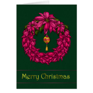 Fuschia Wreath Christmas Card