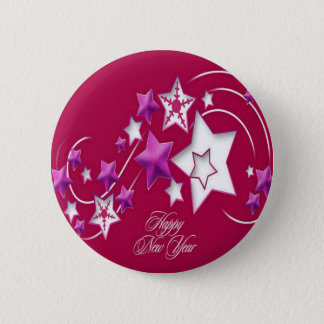 Fuscia and Red Happy New Year Shooting Stars 6 Cm Round Badge
