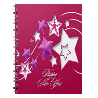 Fuscia and Red Happy New Year Shooting Stars Notebooks