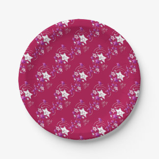 Fuscia and Red Happy New Year Shooting Stars Paper Plate