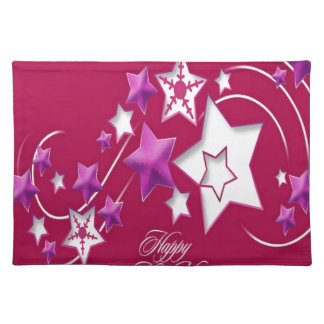 Fuscia and Red Happy New Year Shooting Stars Placemat