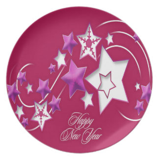 Fuscia and Red Happy New Year Shooting Stars Plate