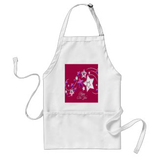 Fuscia and Red Happy New Year Shooting Stars Standard Apron