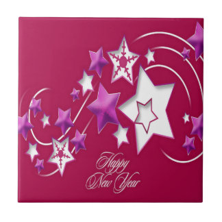 Fuscia and Red Happy New Year Shooting Stars Tile