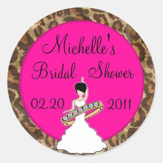 Fuscia Bridal Shower Stickers