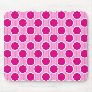 Fuscia Dots on Pink Stripes Mouse Pad