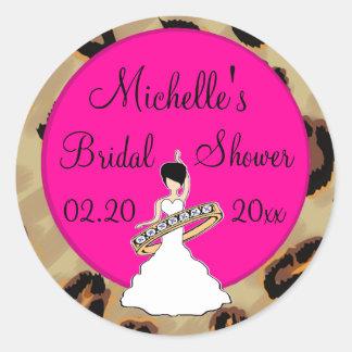 Fuscia Leopard Bridal Shower Stickers