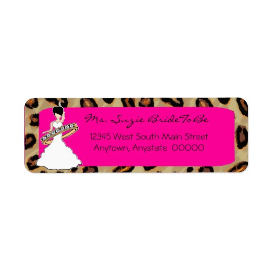 Fuscia Leopard Bride Address Labels