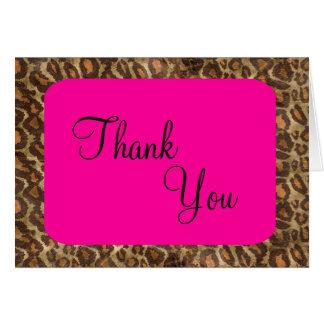 Fuscia Leopard Thank You Card