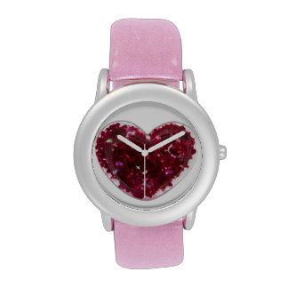 Fused glass heart wrist watch