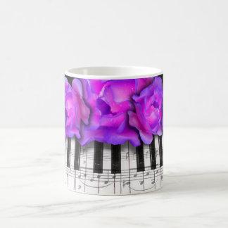 Fushia Roses and Piano Keyboard and Notes Coffee Mug