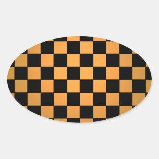 Fusion Checkerboard Gold White Black Mod Retro Oval Sticker