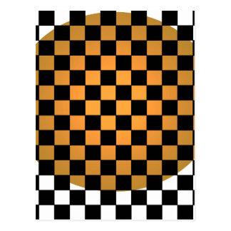 Fusion Checkerboard Gold White Black Mod Retro Postcard