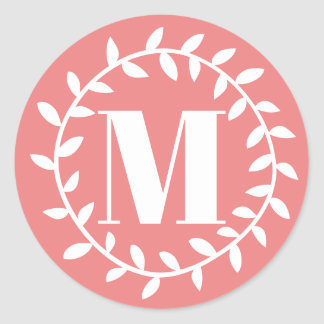 Fusion Coral Circle Wreath and White Monogram Classic Round Sticker