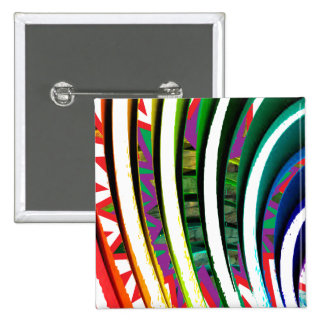 Fusion Curves Pattern Modern Graphic Art 15 Cm Square Badge
