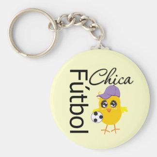 Fútbol Chica Basic Round Button Key Ring