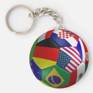 Futbol World Cup Soccer Ball Basic Round Button Key Ring