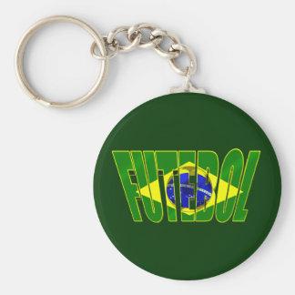 Futebol 3D Brazil flag drop shadow logo Key Chain