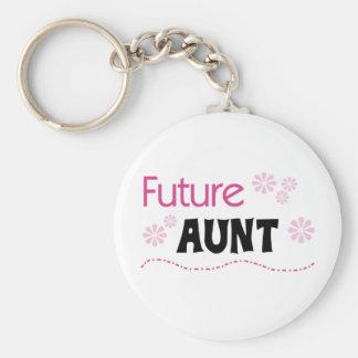 Future Aunt Basic Round Button Key Ring