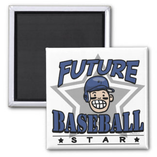 Future Baseball Star Navy Helmet Square Magnet