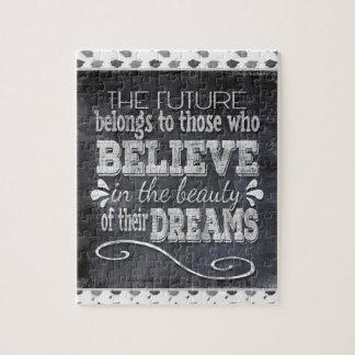 Future Belong, Believe in the Beauty Dreams, Black Jigsaw Puzzle