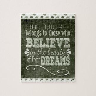 Future Belong, Believe in the Beauty Dreams, Green Jigsaw Puzzle