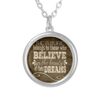 Future Belong, Believe in the Beauty Dreams, Sepia Silver Plated Necklace