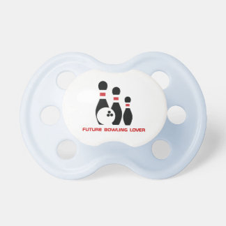 Future bowling lover. Bowling ball and pins Pacifiers