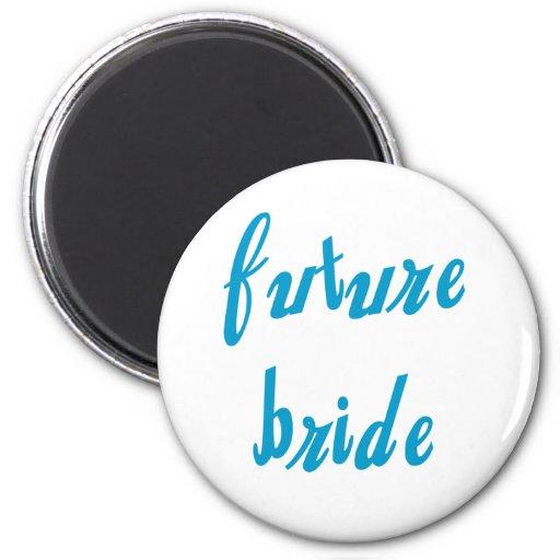 Future Bride Blue Text Refrigerator Magnets